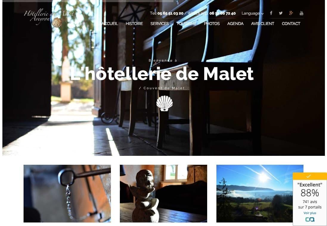 Creation de site pour l'hôtel Malet en Aveyron