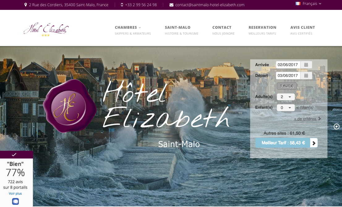 Creation du site de l'hotel Elizabeth à Saint-Malo