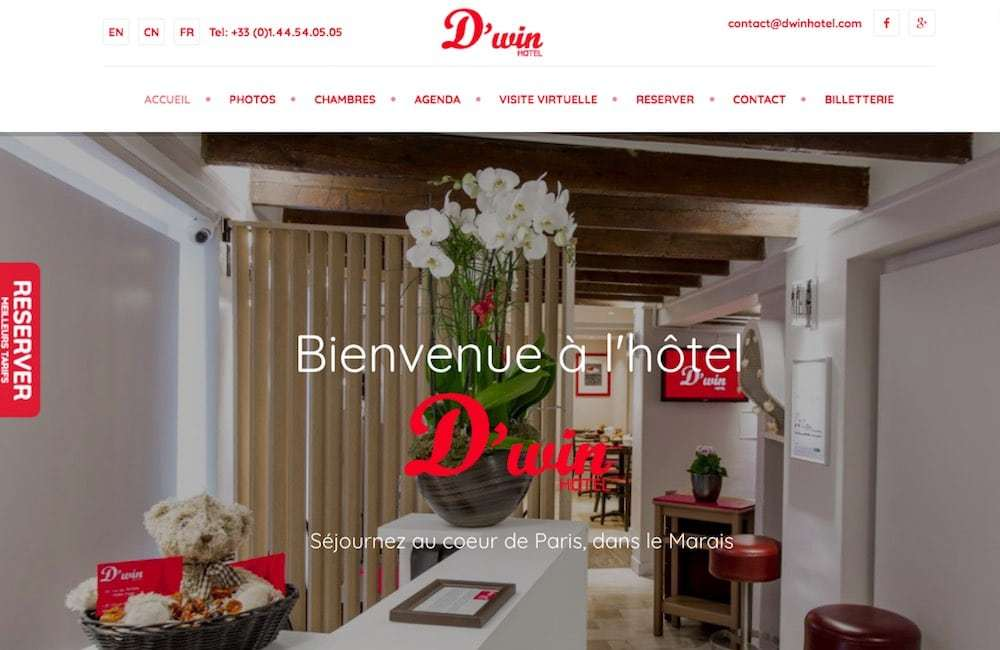 Creation du site de l'hotel Dwin à Paris