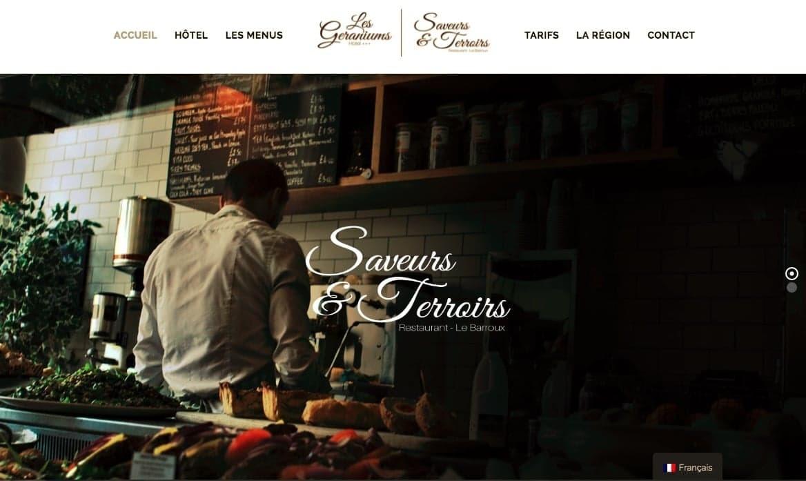 Création de site du Restaurant les Geraniums