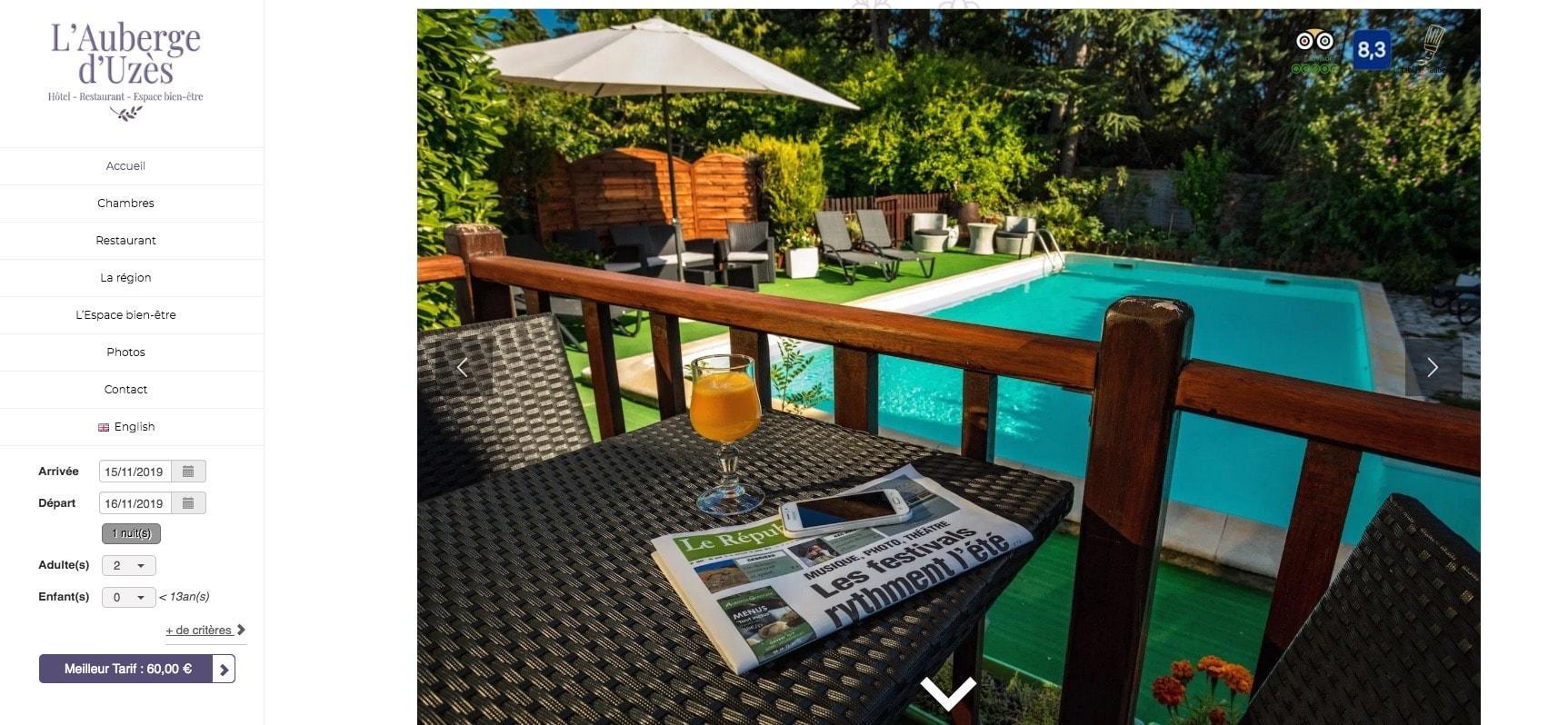 Conception de Site pour Hôtel en Provence