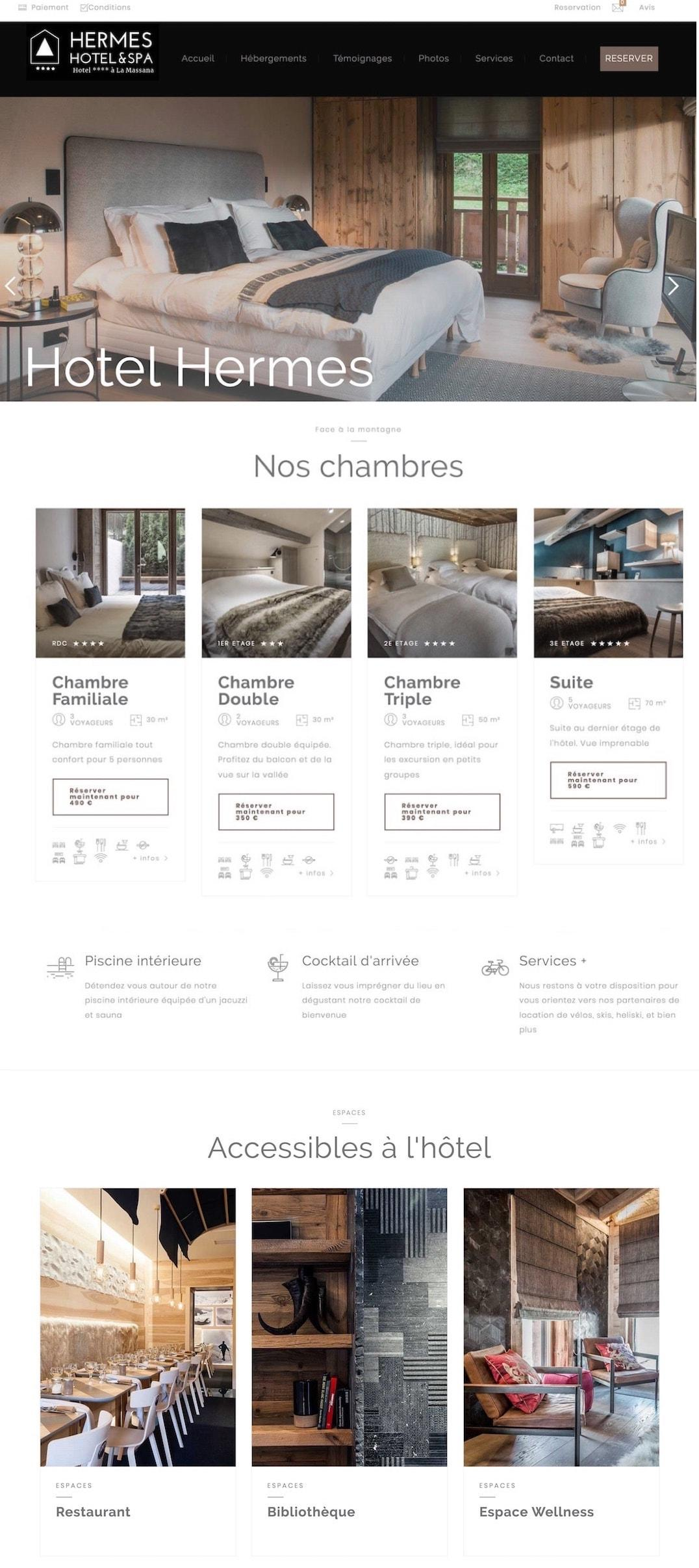 exemple site pour hotel luxe
